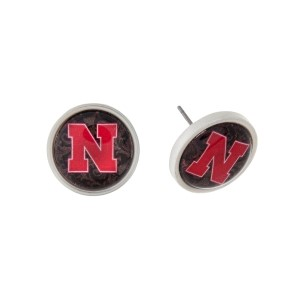 "Silver tone officially licensed University of Nebraska stud earrings. Approximately 2/3"" in length. Our exclusive design."