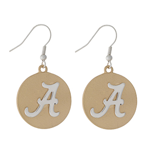 "Officially licensed, two tone fishhook earrings with the University of Alabama logo. Approximately 1"" in diameter."