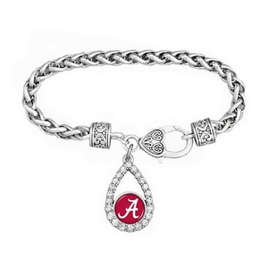 Officially licensed  University of Alabama silver tone braid rope chain teardrop script A logo accented with crystals and heart filigree lobster claw.
