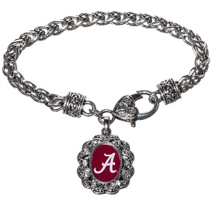 Silver tone officially licensed University of Alabama braided rope with filigree heart lobster claw and oval script A with crystal trim.