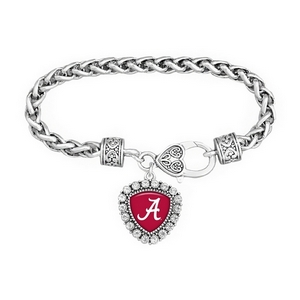 Silver tone officially licensed University of Alabama braided rope with filigree heart lobster claw and triangle shaped  script A with crystal trim.