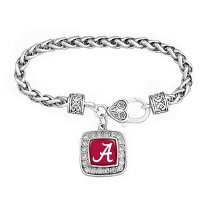 Silver tone officially licensed University of Alabama braided rope with filigree heart lobster claw and square shaped  script A with crystal trim.