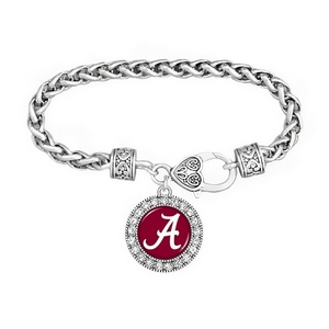 Silver tone officially licensed University of Alabama braided rope with filigree heart lobster claw and round script A charm accented with crystals.