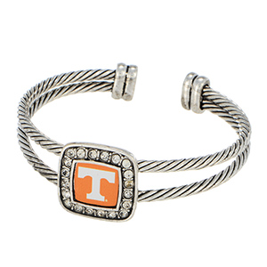 Silver tone officially licensed cuff bracelet featuring the Tennessee logo and clear crystal rhinestones.