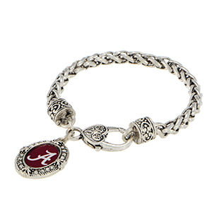 Silver tone officially licensed lobster clasp bracelet featuring the Alabama logo and clear crystal rhinestones.