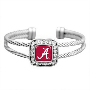 Silver tone officially licensed cuff bracelet featuring the Alabama logo and clear crystal rhinestones.
