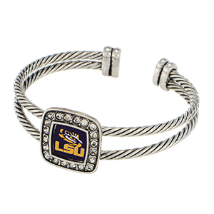 Silver tone cuff bracelet featuring an officially licensed LSU logo and clear crystal rhinestones