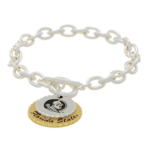 """Silver tone officially licensed collegiate toggle bracelet featuring two mixed metal disk stamped """"Florida State"""". Approximately 7"""" in length."""
