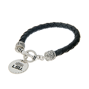 "Black braided faux leather toggle bracelet with an officially licensed silver tone Louisiana State University charm. Approximately 7 1/2"" in length."
