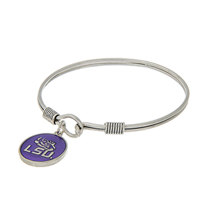 Silver tone latch bangle bracelet with a purple officially licensed Louisiana State University charm.