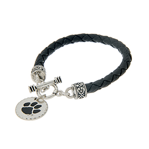 "Black braided faux leather toggle bracelet with an officially licensed silver tone Clemson Tigers charm. Approximately 7 1/2"" in length."