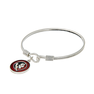 Silver tone latch bangle bracelet with a garnet officially licensed Florida State Seminoles charm.