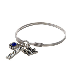 Officially licensed University of Kentucky silver tone bracelet with a blue rhinestone, logo, and Wildcats stamped bar charm.