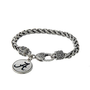 Officially licensed University of Alabama silver tone braided bracelet with a lobster clasp and logo charm.