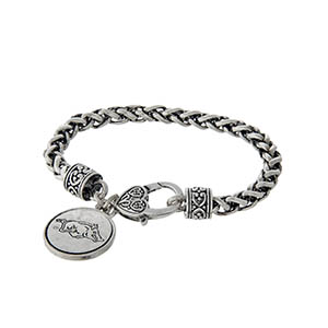Officially licensed University of Arkansas silver tone braided bracelet with a lobster clasp and logo charm.