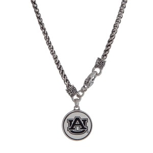 "Officially licensed Auburn University silver tone necklace with a front lobster claps and a logo charm. Approximately 18"" in length."