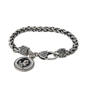 Officially licensed Florida State silver tone braided bracelet with a lobster clasp and logo charm.