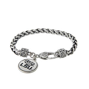 Officially licensed LSU silver tone braided bracelet with a lobster clasp and logo charm.