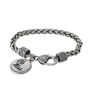 Officially licensed Ole Miss silver tone braided bracelet with a lobster clasp and logo charm.