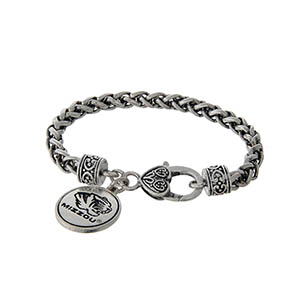 Officially licensed University of Missouri silver tone braided bracelet with a lobster clasp and logo charm.