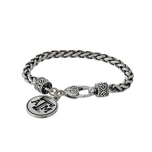 Officially licensed Texas A&M University silver tone braided bracelet with a lobster clasp and logo charm.