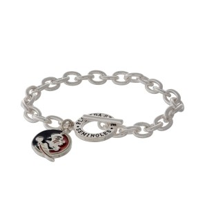 Silver tone officially licensed Florida State University toggle bracelet with the logo charm.