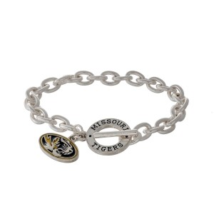 Silver tone officially licensed University of Missouri toggle bracelet with the logo charm.