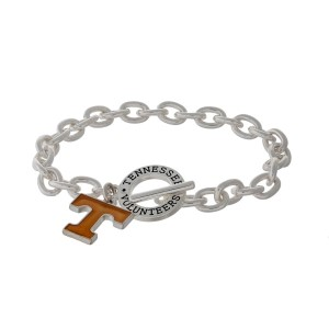 Silver tone officially licensed University of Tennessee toggle bracelet with the logo charm.