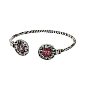 Officially licensed Florida State University silver tone open cuff bracelet.