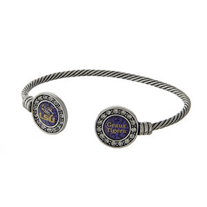 Officially licensed LSU silver tone open cuff bracelet.