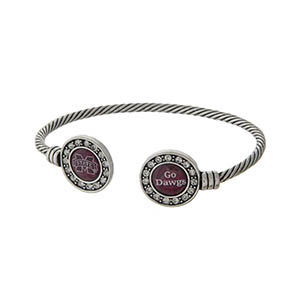 Officially licensed Mississippi State University silver tone open cuff bracelet.