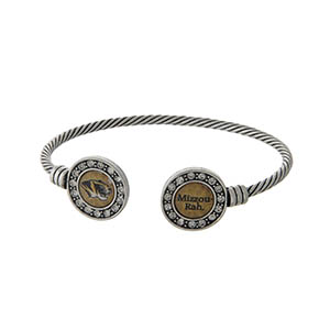 Officially licensed University of Missouri silver tone open cuff bracelet.