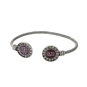 Officially licensed Texas A&M University silver tone open cuff bracelet.