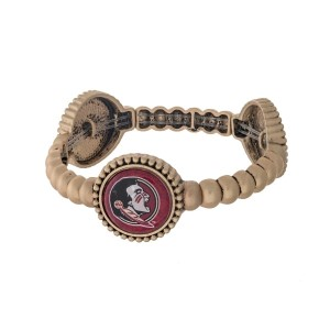Officially licensed gold tone Florida State University stretch bracelet with three stations. Our own exclusive design.