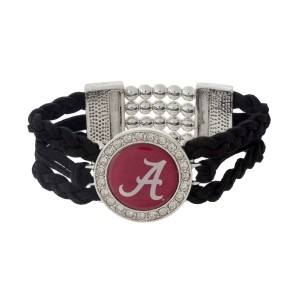 Officially licensed black braided suede and silver tone stretch bracelet with the University of Alabama logo.