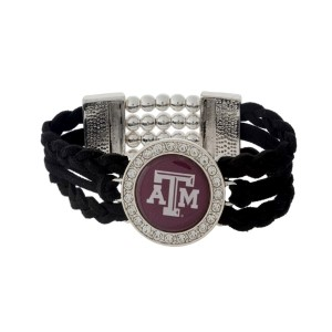Officially licensed black braided suede and silver tone stretch bracelet with the Texas A & M University logo.