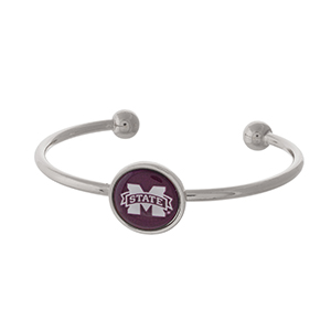 Officially licensed, silver tone cuff bracelet with the Mississippi State logo.