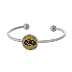 Officially licensed, silver tone cuff bracelet with the University of Missouri logo.