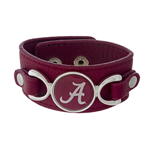 "Officially licensed, faux leather bracelet with the University of Alabama logo. Approximately 1"" in width."