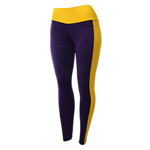 Purple and gold tone polyester/spandex blend leggings.