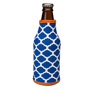 Royal blue and orange patterned neoprene bottle coozy.