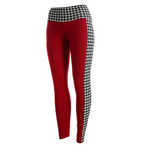 Crimson and houndstooth leggings. Made of a 95% polyester and 5% Spandex blend. One size fits most.