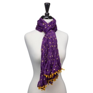 "Light weight purple with yellow polka dots scarf that measures approximately 65"" x 14"" and features small pom poms. 100% Polyester."
