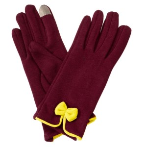 Maroon touchscreen gloves with a yellow bow. 50% Cotton and 50% acrylic. One size fits most.