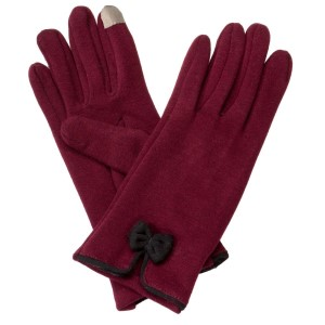 Maroon touchscreen gloves with a black bow. 50% Cotton and 50% acrylic. One size fits most.