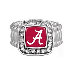 "Silver tone officially licensed stretch ring featuring a 3/4"" square Alabama logo surrounded by clear crystal rhinestones."