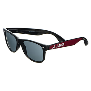 Officially licensed black plastic frame wayfarer sunglasses with Bama logo trim.